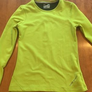 Under Armour lime green fitted cold gear shirt